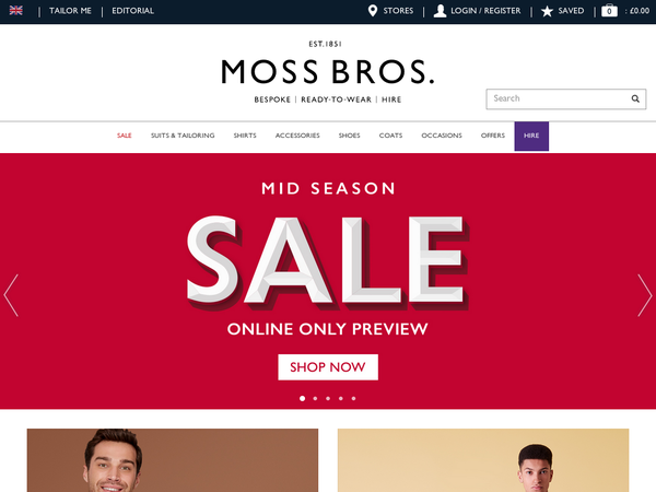 Moss Bros often have outlandish deals and excellent sales to help keep costs down. If you like saving even more, then great job, you're in the right place! At VoucherButler we are here to proffer the most delectable discount codes, sales and promotional knowledge that will put more pennies back in your pocket! Moss Bros promotion code types.